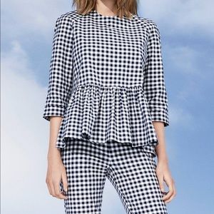 Victoria Beckham checkered blouse peplum sz:Xs